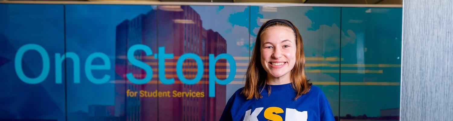 A student visits the One Stop for Student Services Office