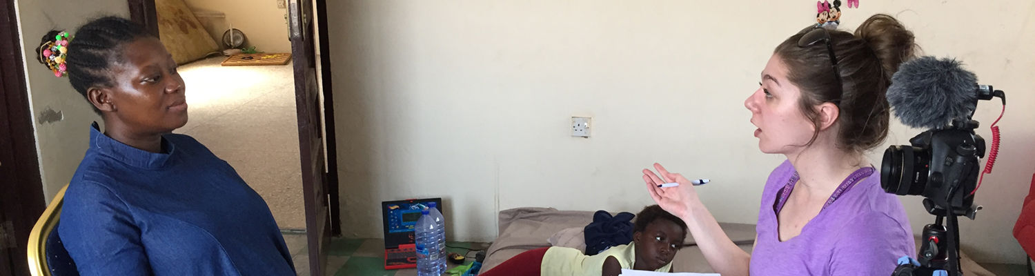 Erin Zaranec, '17, interviews a source for a story she produced in Ghana.