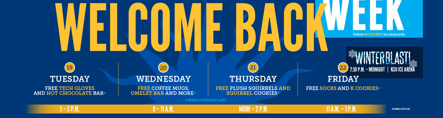 Welcome Back Week offers events filled with fun, food and free stuff, starting Tuesday, January 19th through Friday, January 22nd