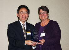 Award Recipient Dr. Yanhai Du with Dean/Dr. Christina Bloebaum
