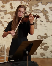 Kate Wyatt (MM '19) Performing on violin