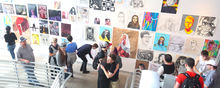 School of Art, students and guests view artwork in the Center for the Visual Arts