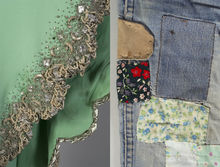 Beading and patched denim