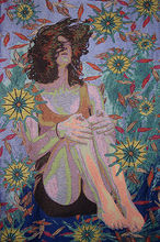 """Cathryn Amidei, BEGETTER, handwoven Jacquard made from cotton, metallic and rayon fibers, with chenille brocading - 41"""" x 54"""""""
