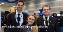photo Aeronautics Career Fair three United Airlines interns
