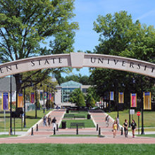 Open larger photo of Kent State Arch above esplanade