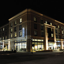 Open larger photo of Kent State University Hotel at night
