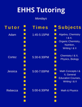 Monday Tutoring Schedule