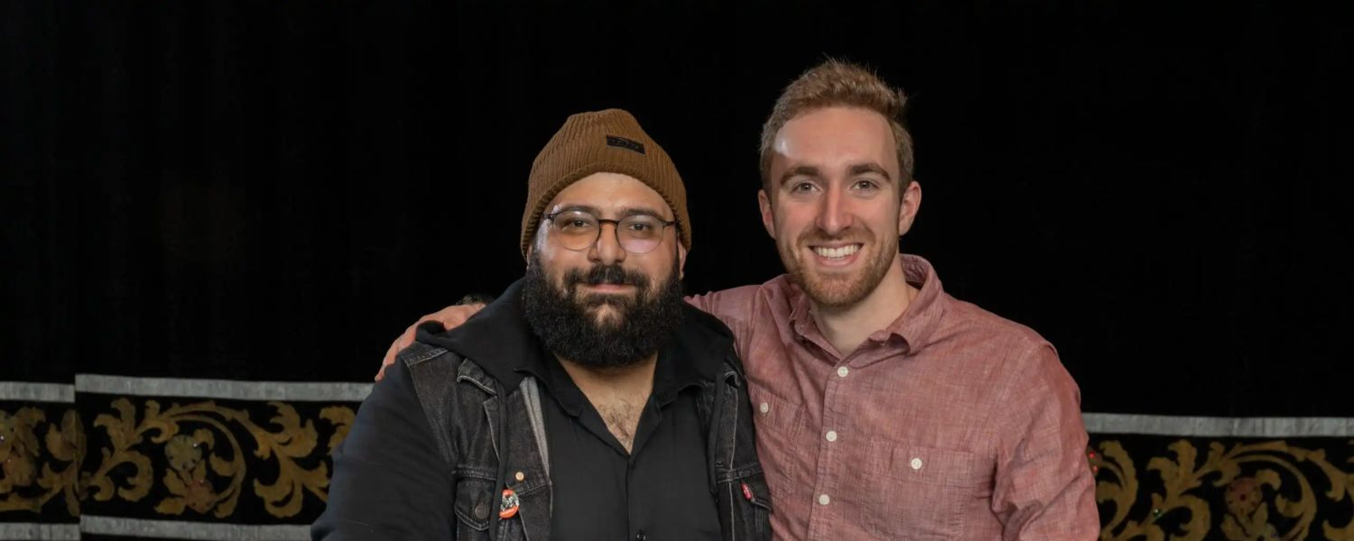 Rami Daud and Nathaniel Bailey, photographers with University Communications and Marketing, smile after receiving their Silver ADDY Awards. (Photo credit: Smithberger Photography)