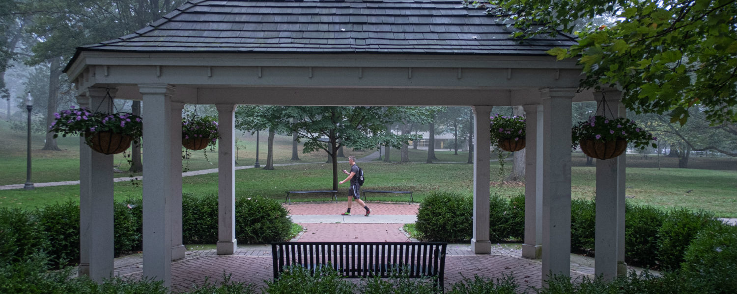 Early morning fog frames the Front Campus Gazebo, located near The Rock, off East Main Street.