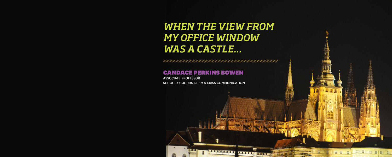The castle in Prague. In her upcoming presentation, Dr. Candace Bowen will discuss her sabbatical at Anglo-American University.