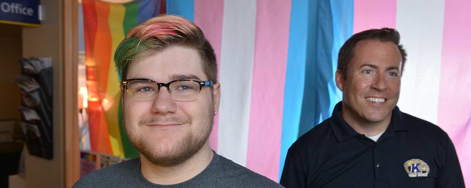 Kent State transgender student Emily Grubb (left) stands with Ken Ditlevson, director of the university's LGBTQ Student Center. The LGBTQ Student Center is located on the lower level of the Kent Student Center.