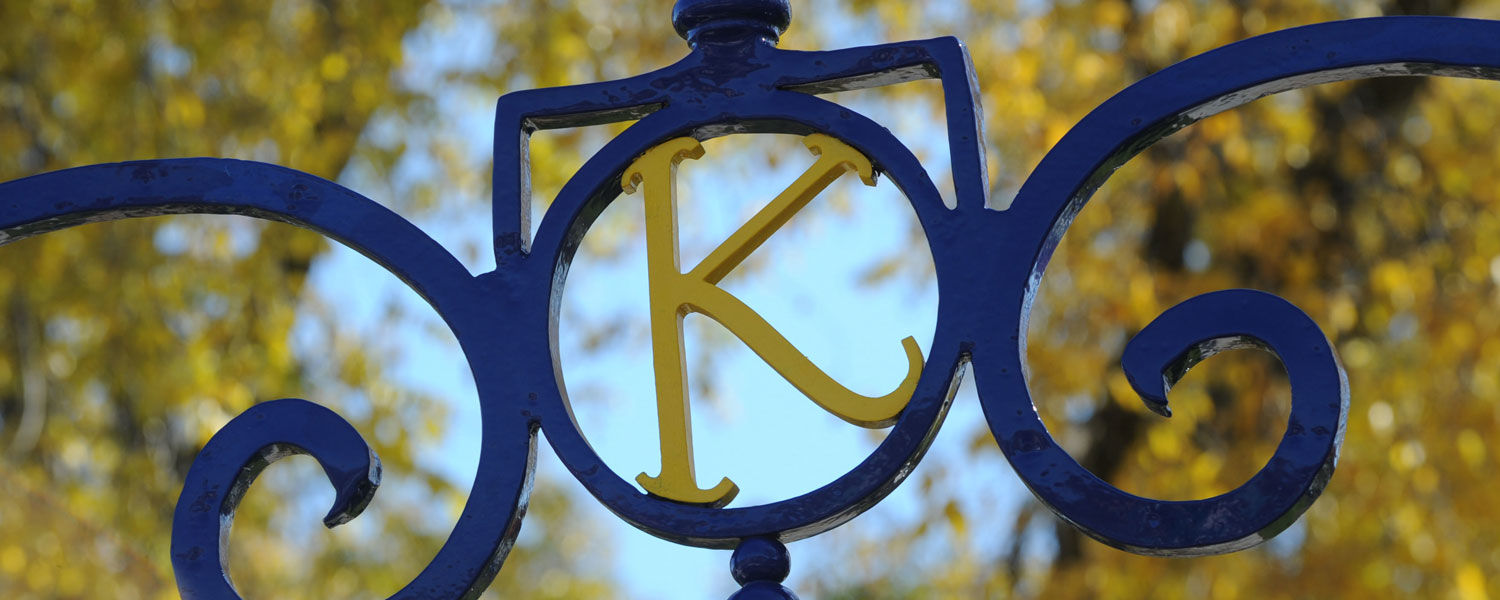 """A """"K"""" rests stop the Prentice Gate near Rockwell Hall. The gate once served as the formal entrance to Kent State University."""
