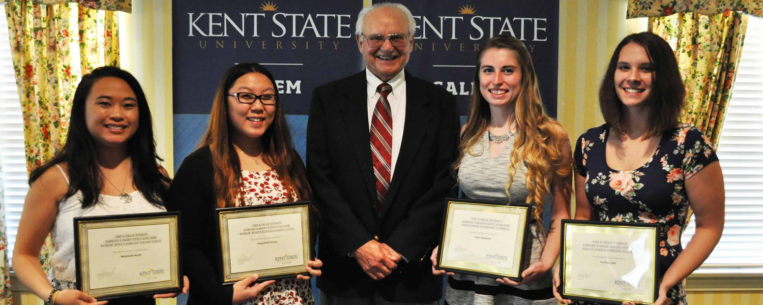 Students who received James and Coralie Centofanti scholarships with Joe Centofanti (center)