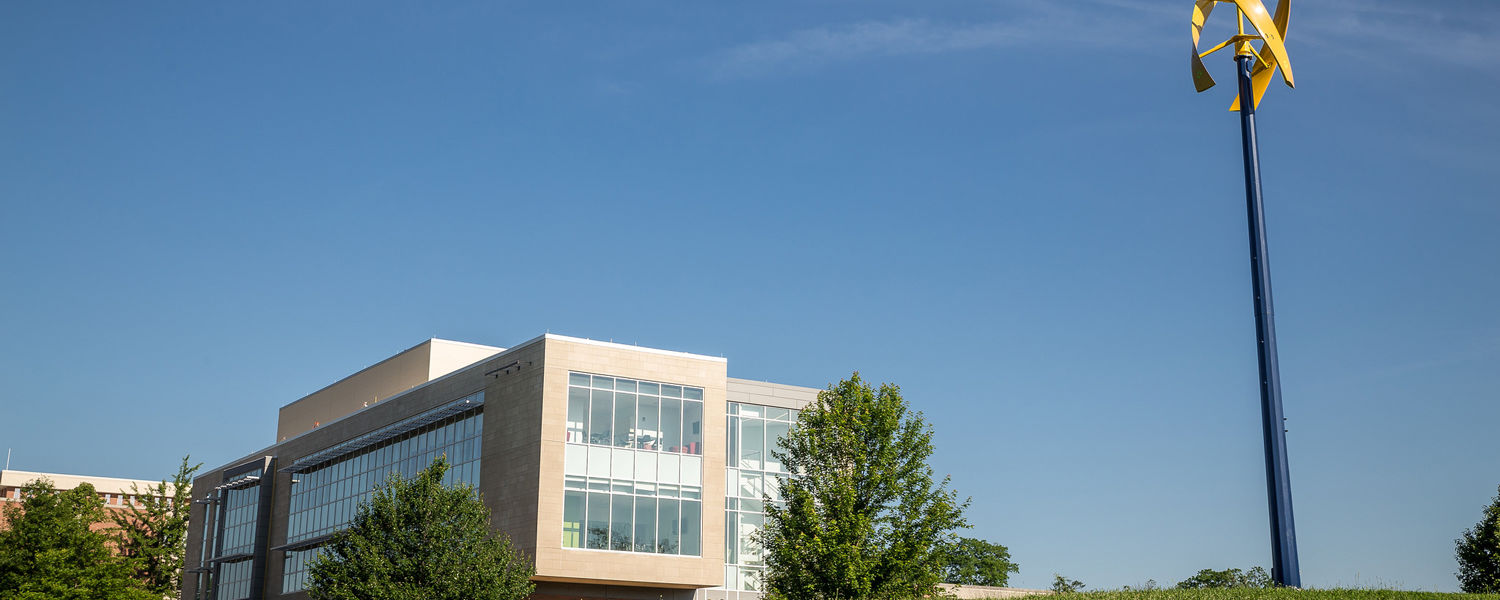The vertical wind turbine is installed on the southeast side of the Science & Nursing Building.