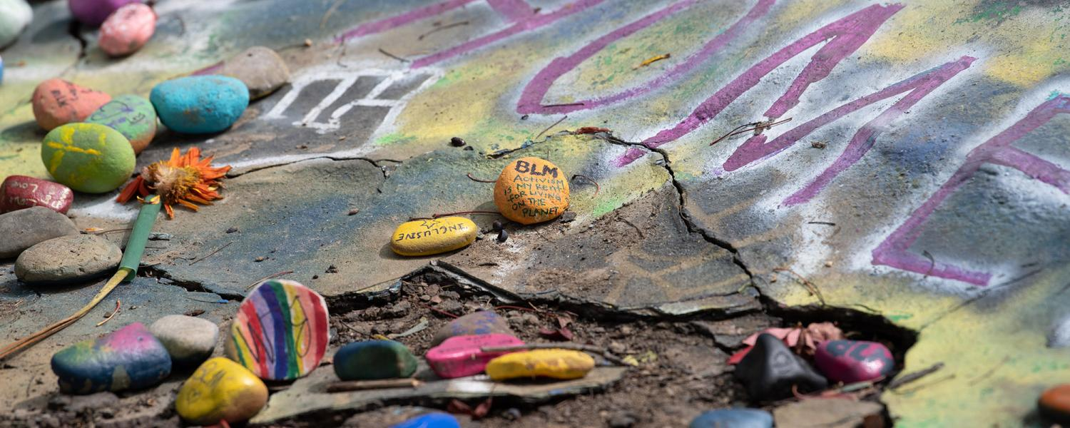 Rocks on campus painted in support of Black Lives Matter.