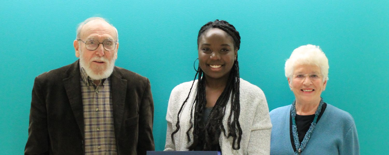 Dr. Robert Treichler and his wife, Nancy, with award winning undergraduate student, Sydney Green