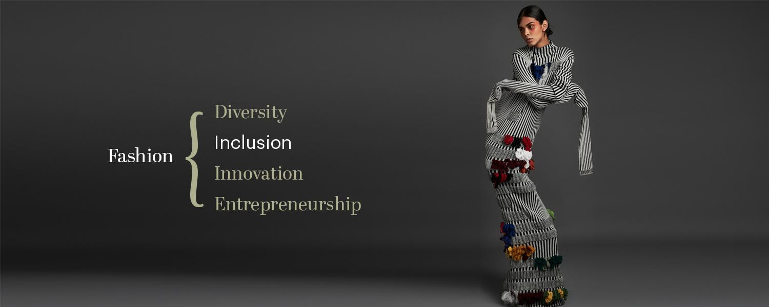 "A hero photo of a model in a grey dress with the words ""Fashion, Diversity, Inclusion, Innovation, Entrepreneurship."""