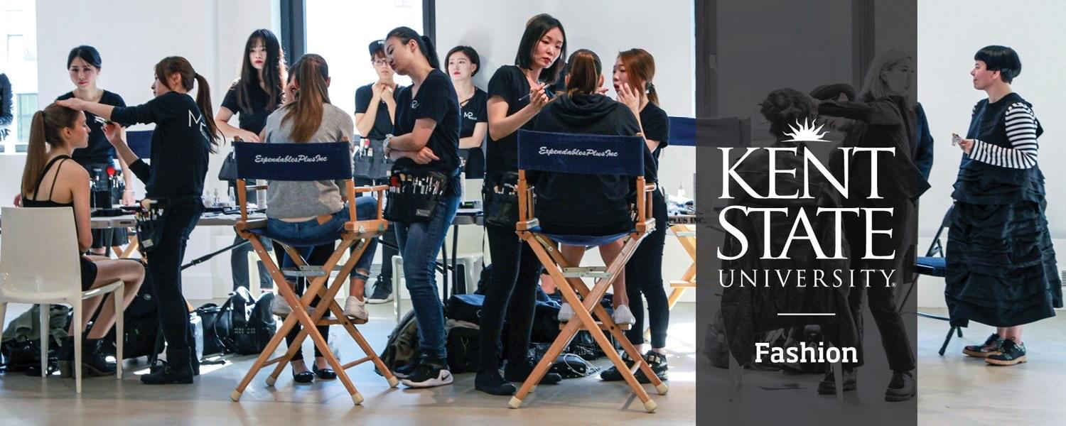 A hero photo of models getting prepared for a photoshoot, with the Kent State University Fashion logo overlaid on it.