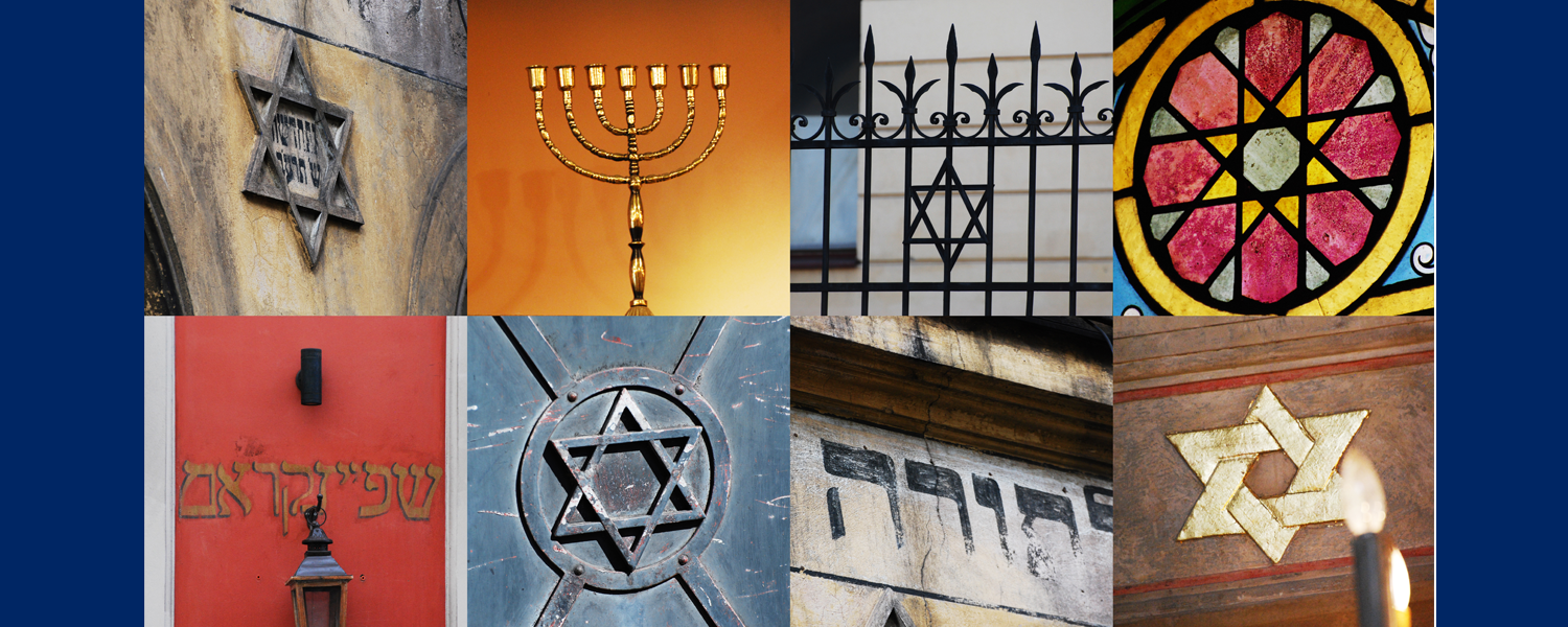Collage of Photos from the Poland Study Abroad Opportunity, featuring Jewish symbols