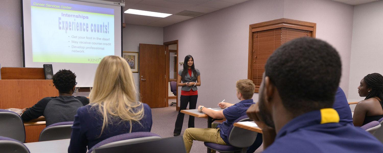 Advisor giving career presentation