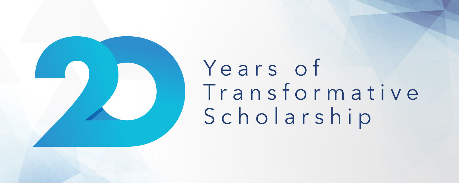 "Graphic that reads, ""20 years of transformative scholarship."""