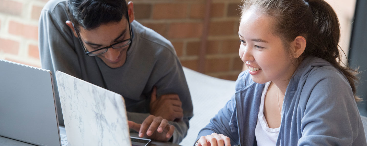 Banner image of two students studying at laptops