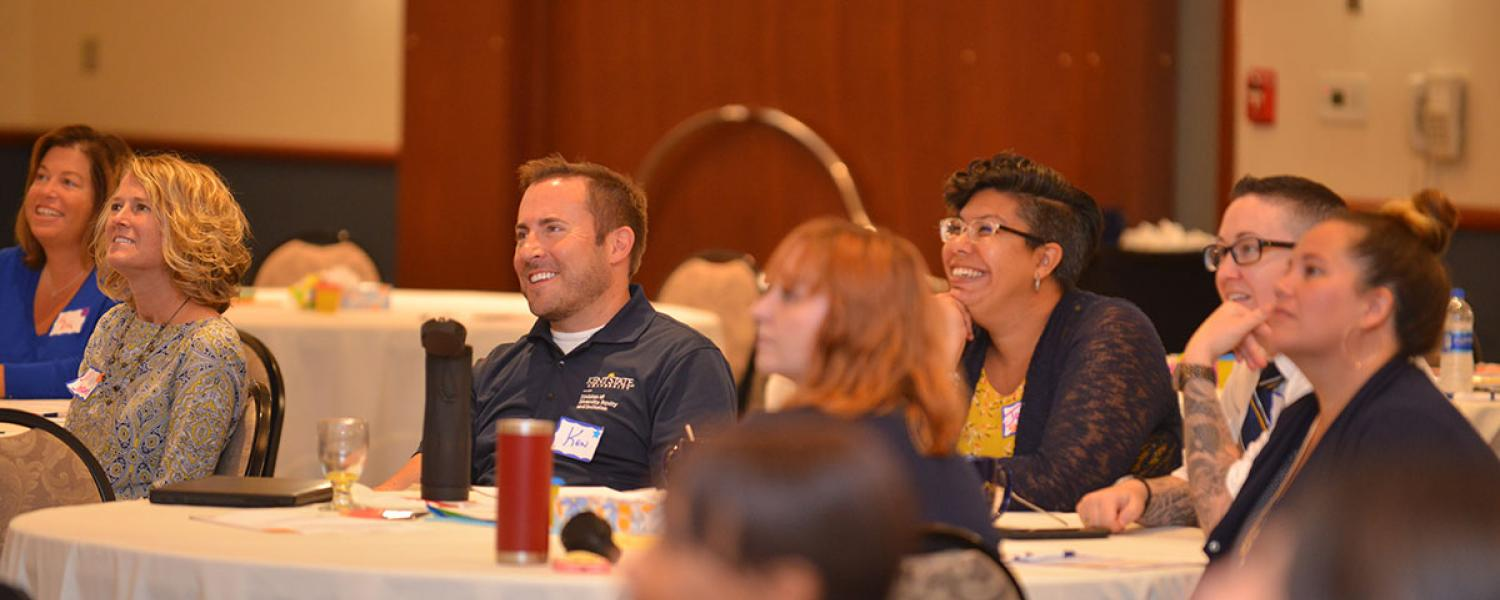 Staff members discuss at the University Diversity Action Council retreat.