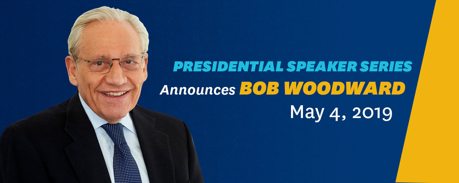 Presidential Speaker Series announces Bob Woodward May 4, 2019 - photo credit to Lisa Berg