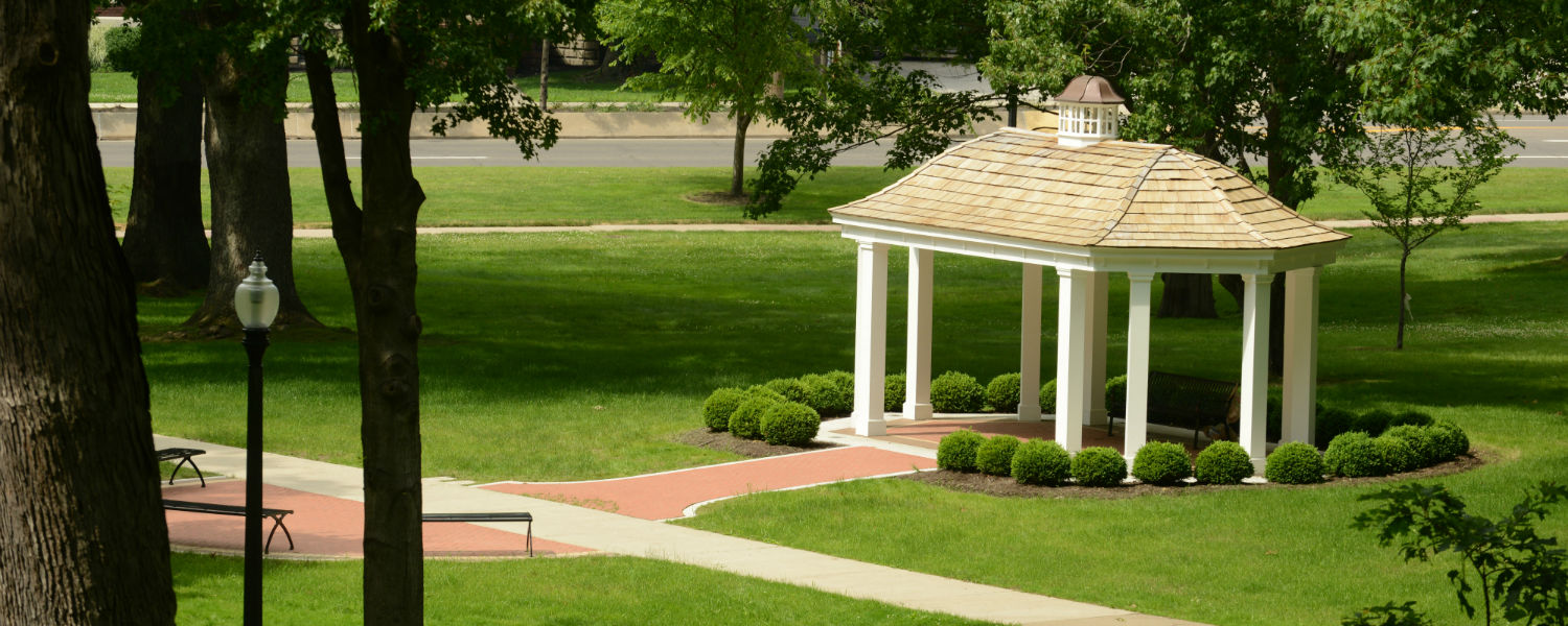 Students, faculty, staff and visitors can make use of this gazebo on the Kent Campus.