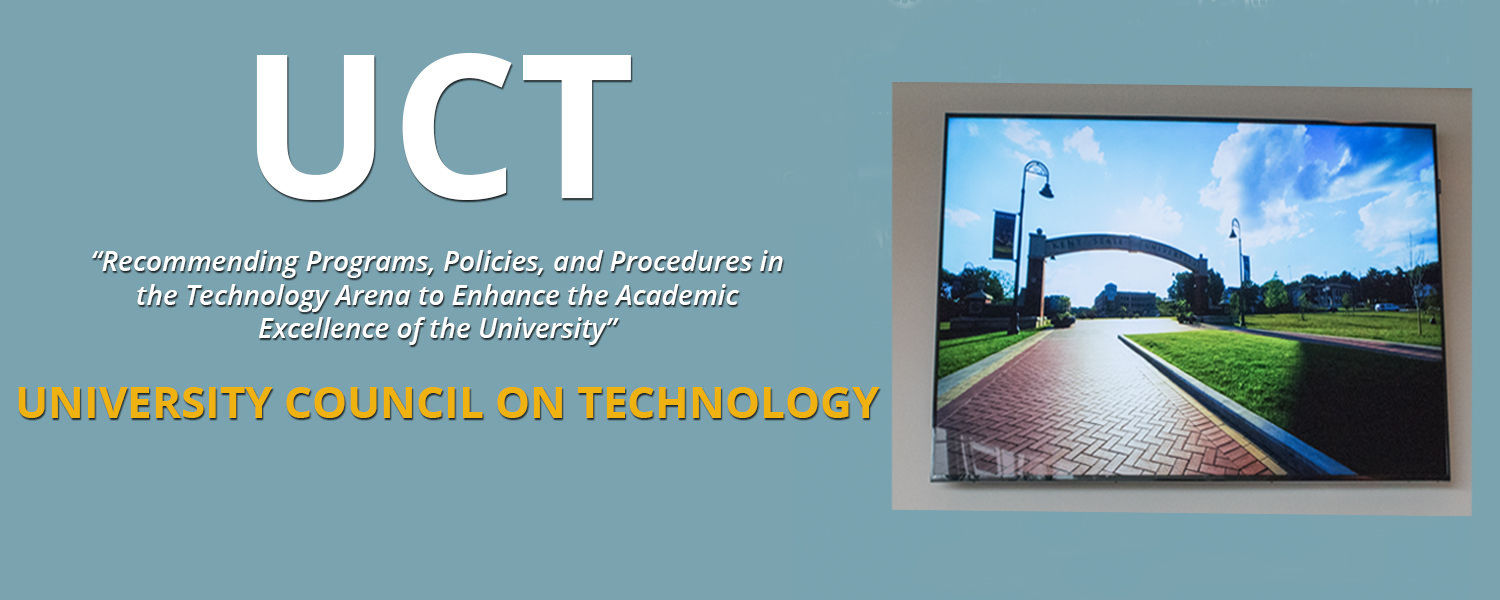 University Council of Technology homepage with photo of Kent State University Arch and sidewalk