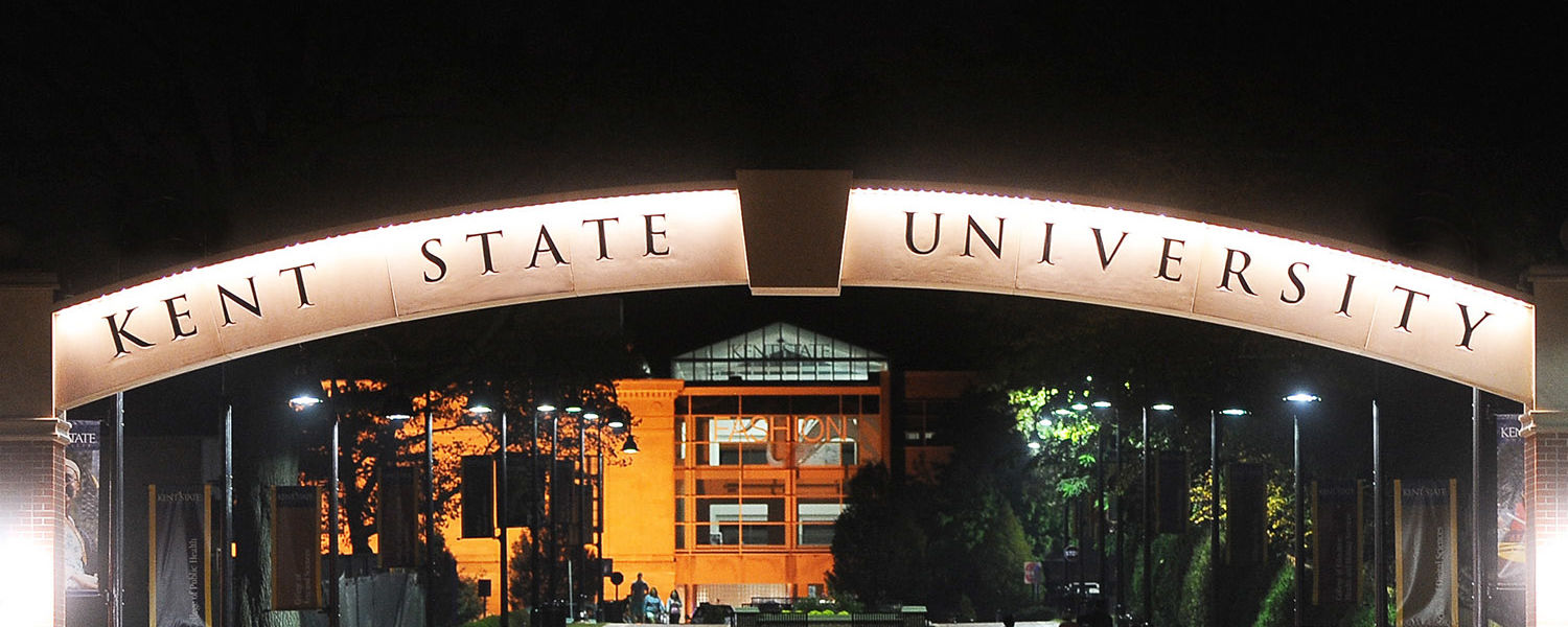 Kent State University at night.