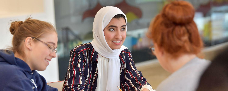 female students studying