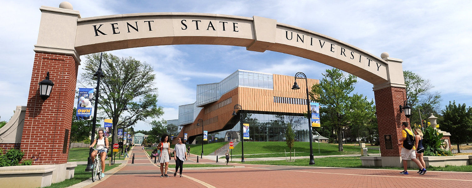 Kent State students walk across the esplanade.