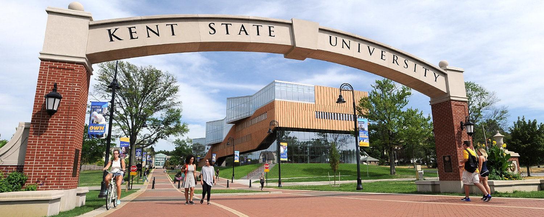 Kent State students walk across the esplanade.
