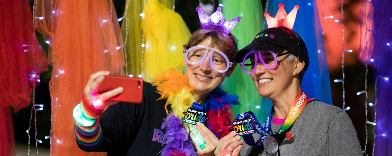 rainbow run participants pose for photo