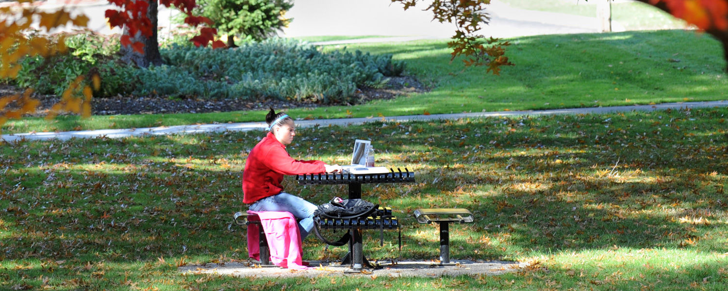A student studies under a tree near Rockwell Hall.