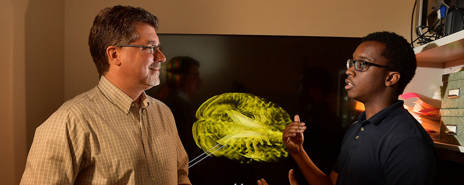 A student discussing a brain scan with a professor