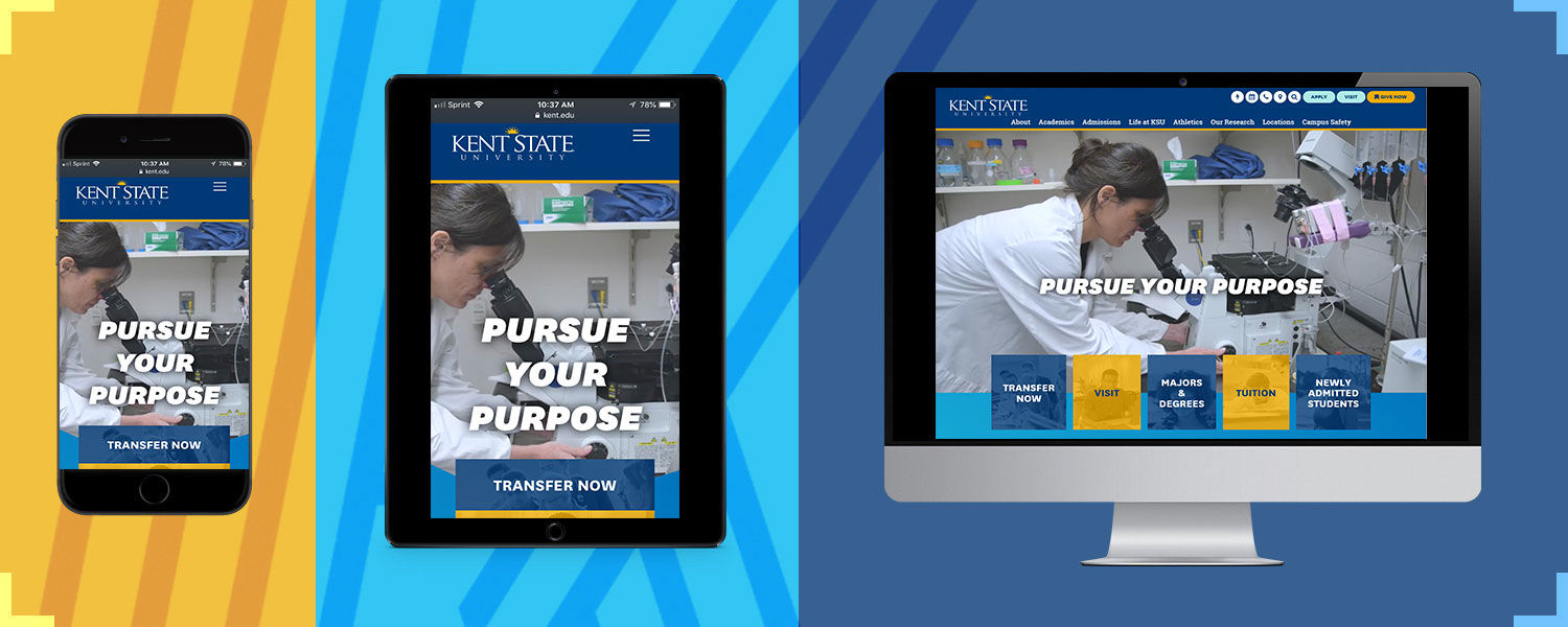 Kent State homepage on various devices
