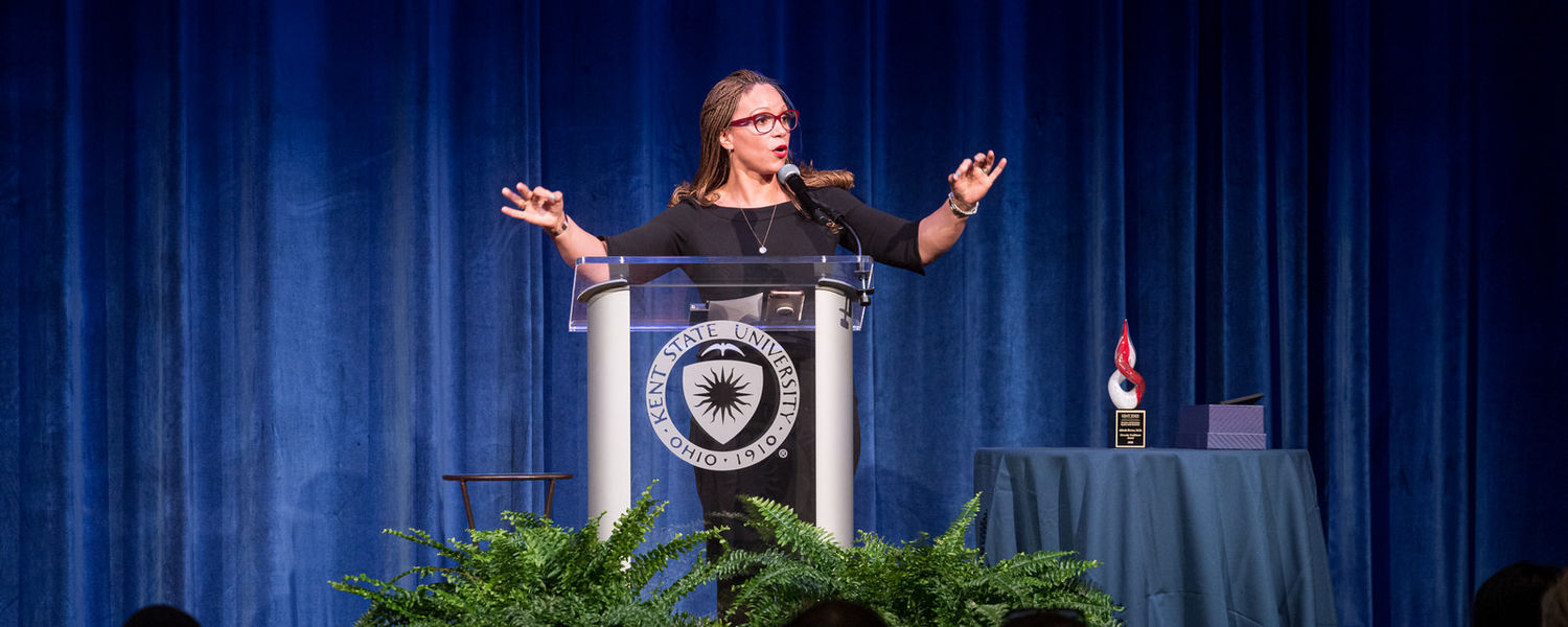 Melissa Harris-Perry, Ph.D., the Maya Angelou Presidential Chair at Wake Forest University, television host, author and political commentator, served as keynote speaker at Kent State's 2020 Martin Luther King Jr. Celebration.