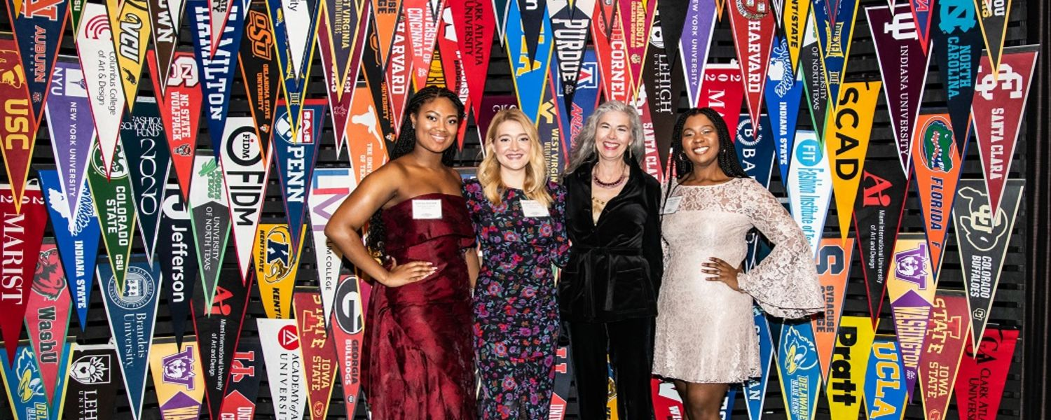 Kent State University students and Professor Catherine Leslie pose for a photo at the 2020 YMA Fashion Scholarship Fund Gala in New York City.
