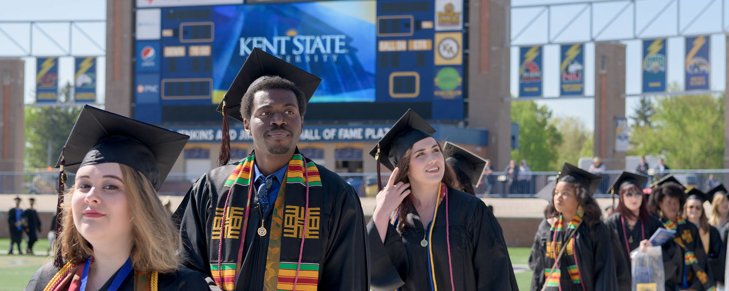 New Kent State University graduates participate in the One Commencement Ceremony in May 2017 at Dix Stadium. The university's graduates are making dynamic impact and shaping lasting contributions across Northeast Ohio.
