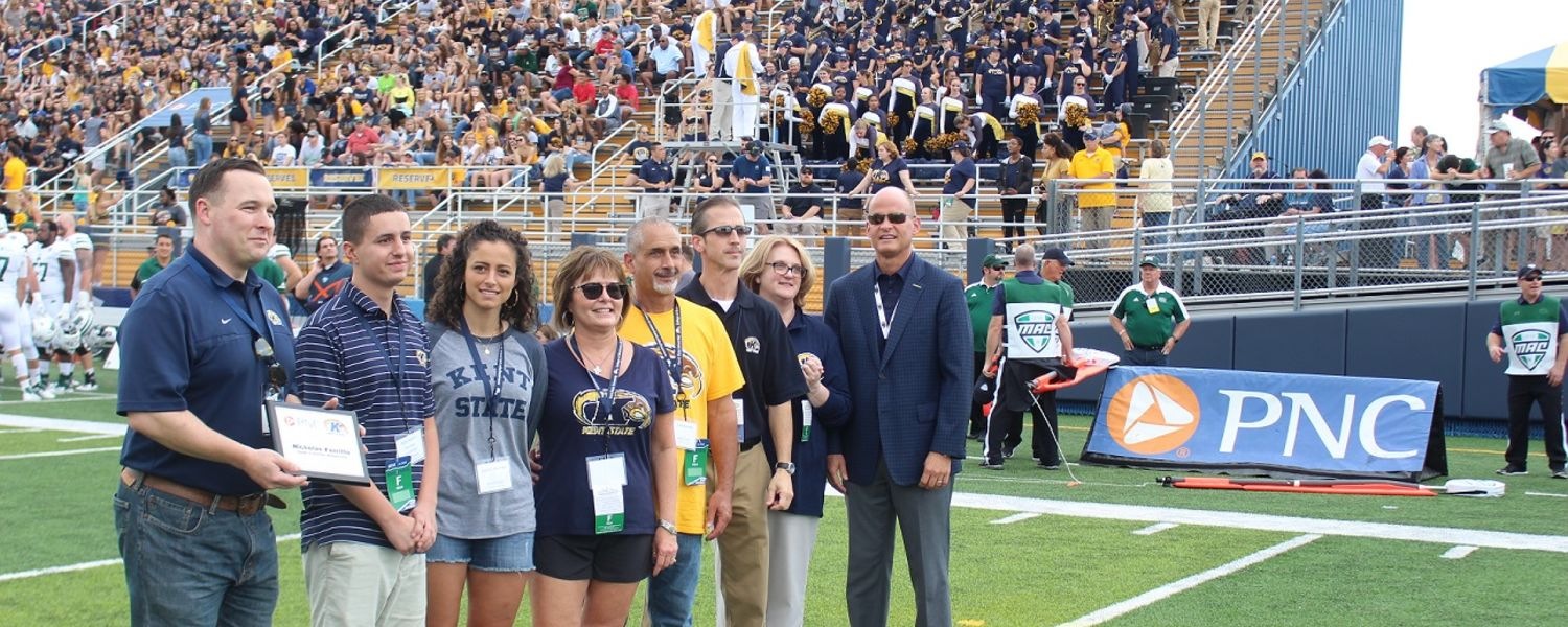 PNC Bank recognizes Kent State Nick Ferritto (second from left), who is joined by his family along with representatives from Kent State's administration, Department of Intercollegiate Athletics and the College of Business Administration.