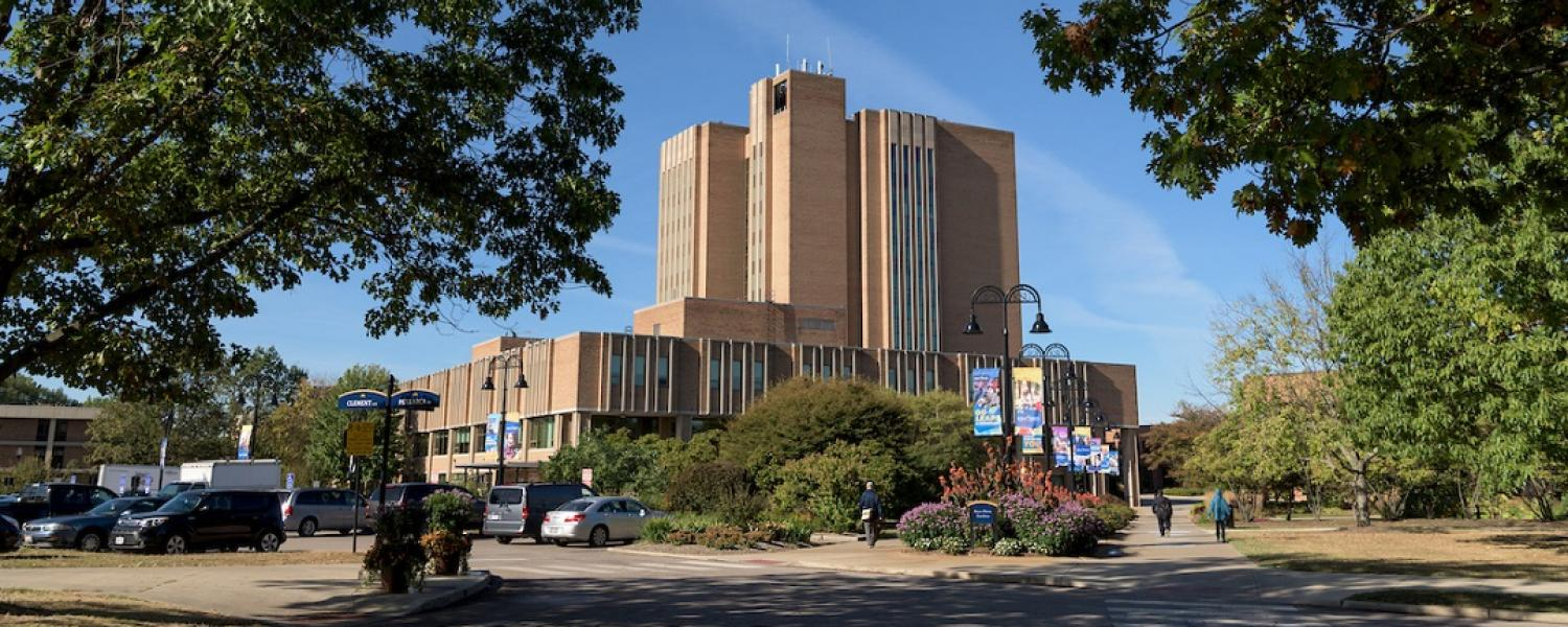 The University Library is located in the heart of the Kent State University campus.