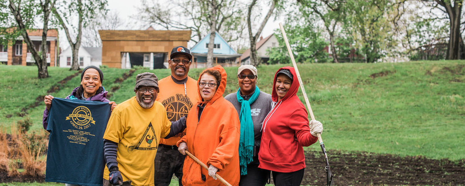During Kent State University's 2017 Alumni Day of Service, volunteers completed garden projects for the Association of African American Cultural Gardens in Cleveland.