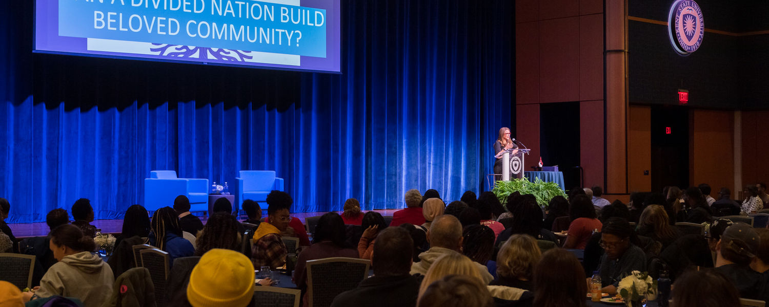 Melissa Harris-Perry, Ph.D., addressed the crowd at Kent State's annual Martin Luther King Jr. Celebration held in the Kent Student Center Ballroom.
