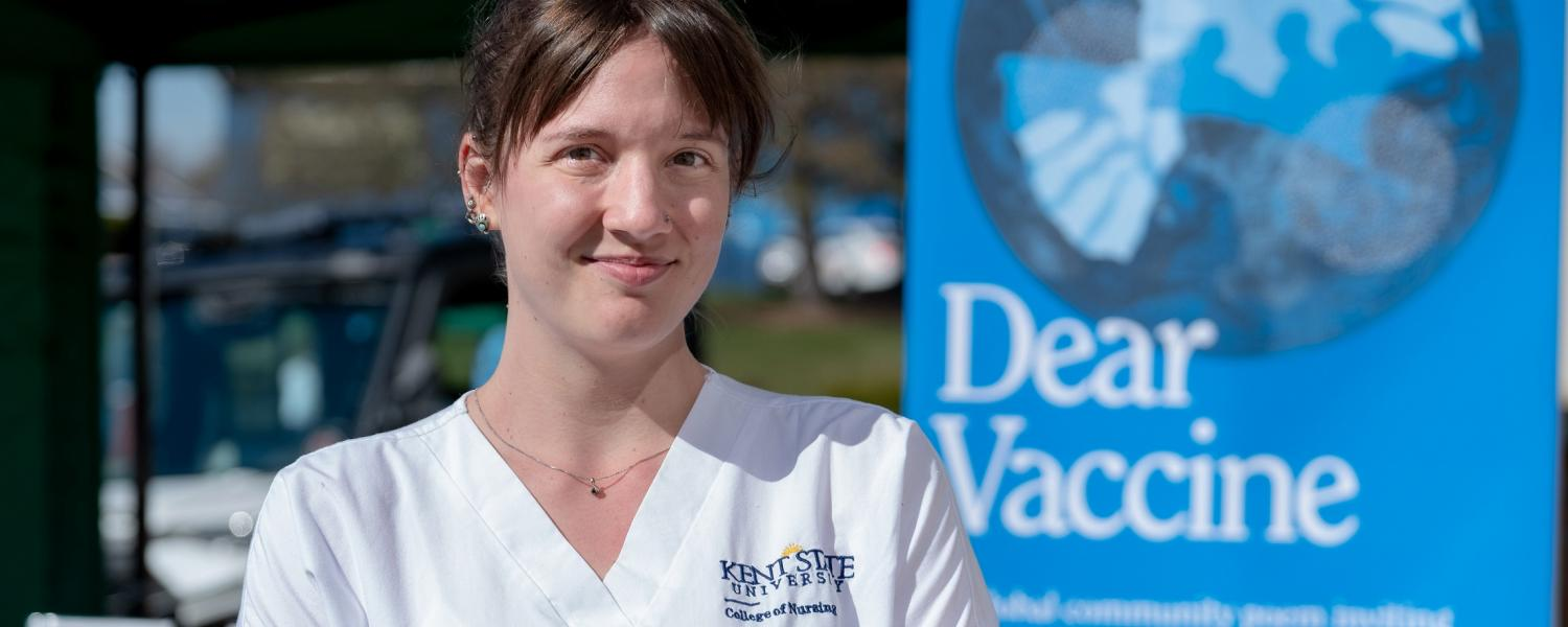 Kent State student volunteer for Global Vaccine Poem project