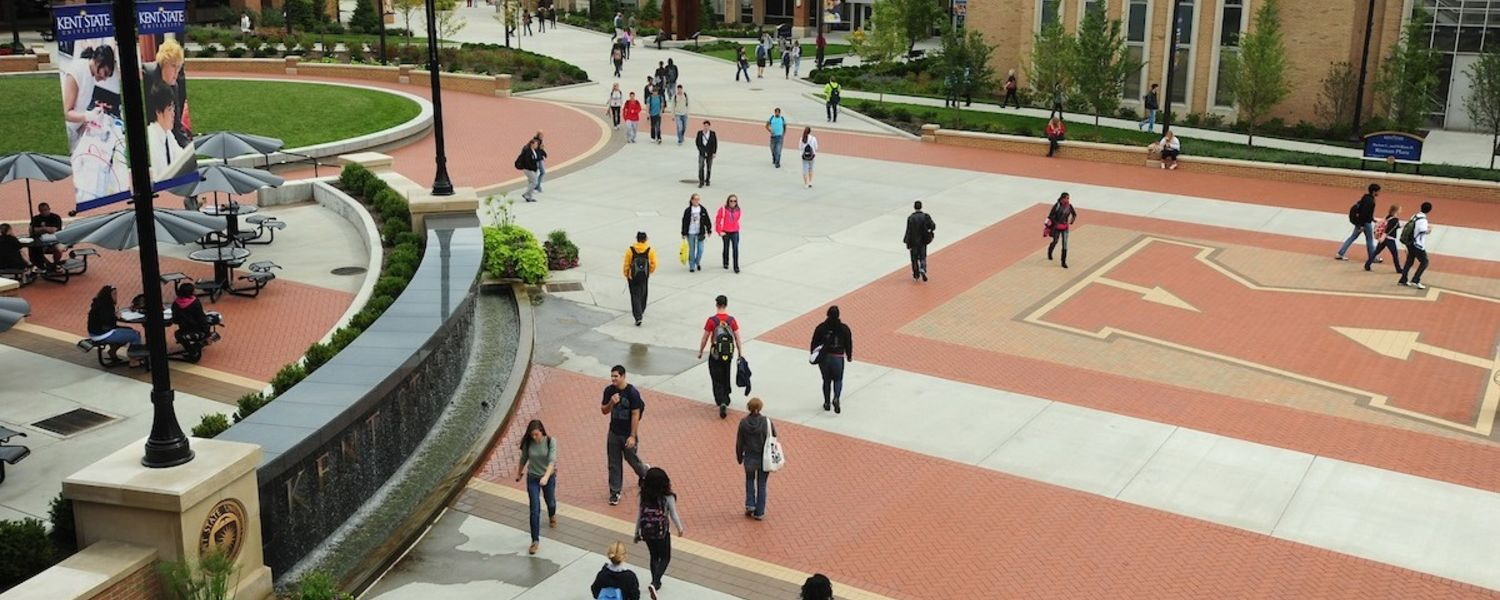 Kent State University students make their way to and from classes.