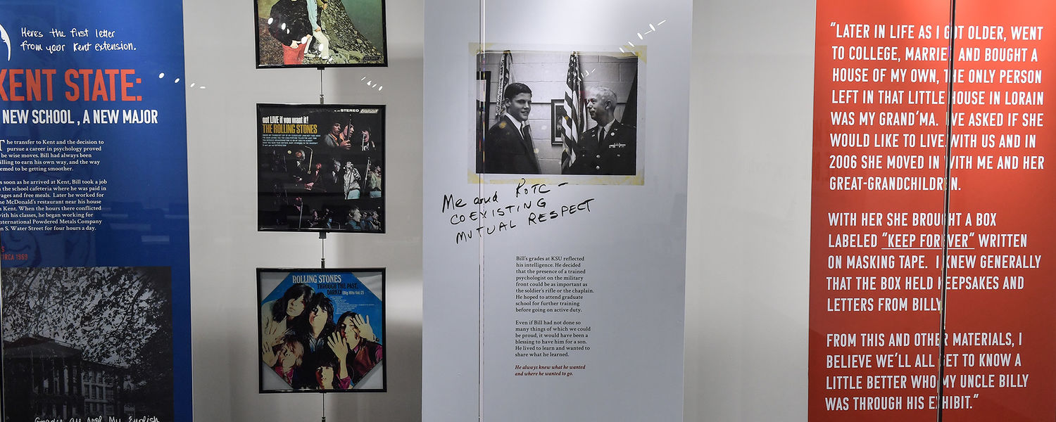 """""""Bill: An All-American Boy,"""" a new exhibition at Kent State University's May 4 Visitors Center, pays tribute to the life of Bill Schroeder and includes his Rolling Stones albums, mementos from his ROTC program and other personal items."""