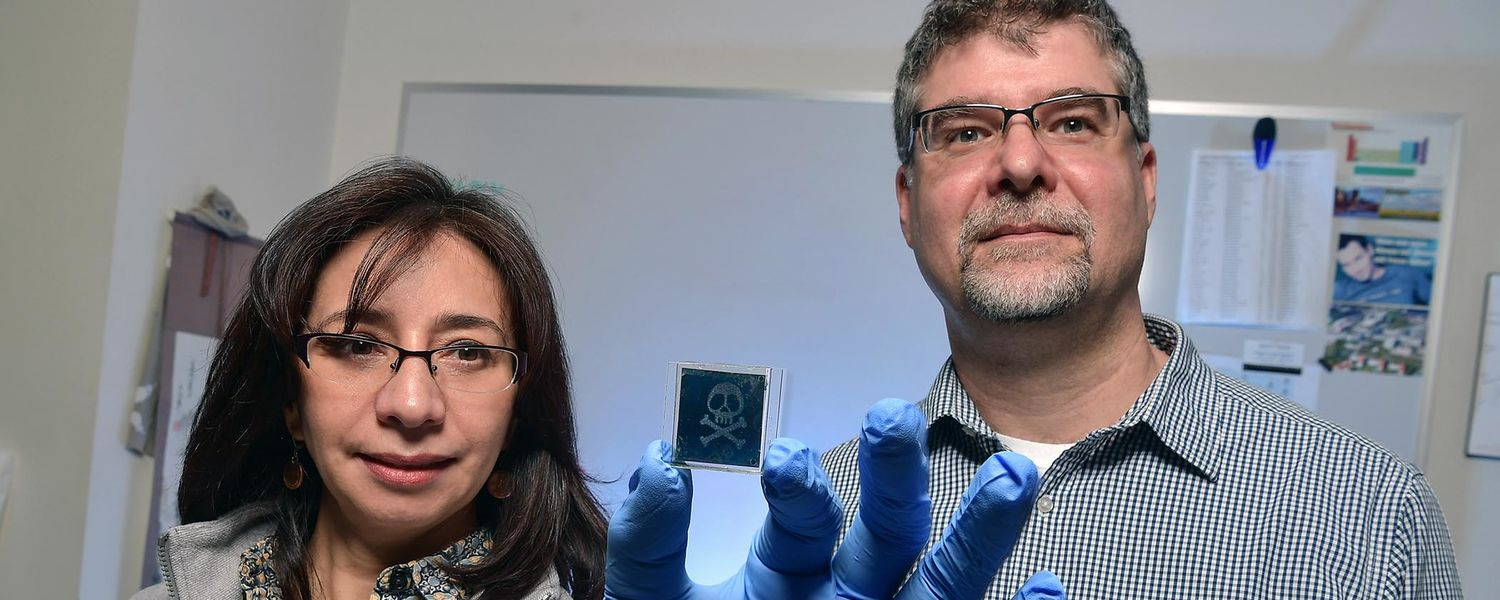 Kent State University researchers Elda and Torsten Hegmann pose with one of the sensors they created that detects toxic gases. Their project was supported by a grant from the TeCK Fund.